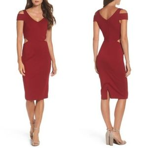 Ali & Jay Ponte Body-Con Dress Cut Out Red NEW
